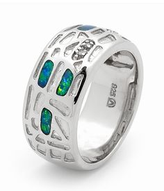 Sterling Silver Solid Inlay Opal Modern Sterling silver ring with fine Inlay Opals and diamonds to create a unique product 4 stone Free Shape Free Form, 3 diamond 0.02ct Modern Sterling silver ring with fine Inlay Opals and diamonds to create a unique product #opalsaustralia