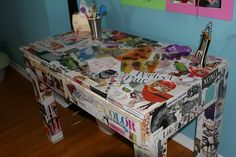 Image Detail for - Decoupage Desk Project for tweens and teens Girl Desk, Girl Room, Girls Bedroom, Lego Bedroom, Bedroom Ideas, Bedroom Decor, Diy Arts And Crafts, Fun Crafts, Decoupage Desk