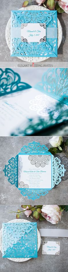 as low as $2.39 tiffany blue laser cut silver foil lace wedding invitations