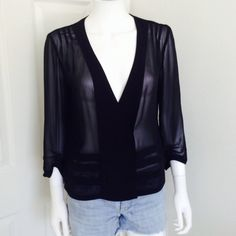 URBAN OUTFITTERS black sheer jacket Size Medium Gorgeous classic sheer black jacket from URBAN OUTFITTERS. Brand: Silence & Noise. Size Medium. The jacket has 3/4 length sleeves and snaps in the front to be worn closed. Urban Outfitters Jackets & Coats