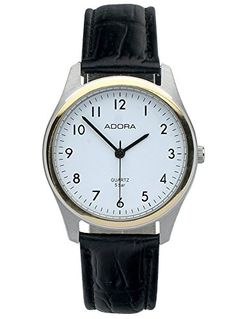 Herrenuhr Armbanduhr Analoguhr Edelstahluhr bicolor mit Lederarmband schwarz Adora 28406 - http://uhr.haus/adora/herrenuhr-armbanduhr-analoguhr-edelstahluhr-2