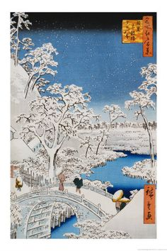 "Drum Bridge at Meguro, from the Series ""100 Views of Edo"" Láminas por Ando Hiroshige en AllPosters.es"