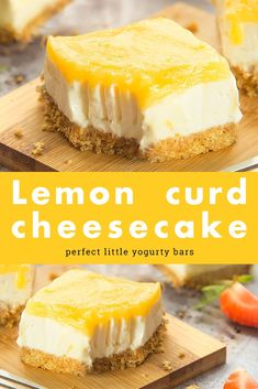 Lemon curd yogurt cheesecake bars A buttery digestive base, a wonderfully rich yogurt cheesecake filling and a topping of zingy, mouthwatering lemony freshness - you're going to love these lemon yogurt cheesecake bars! Lemon Desserts, Lemon Recipes, Just Desserts, Sweet Recipes, Delicious Desserts, Dessert Recipes, Recipes Using Lemon Curd, Lemon Curd Recipe, Lemon Curd Cheesecake