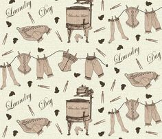 Laundry Day 1900 By Jabiroo Spoonflower Digitally Printed Fabric Wallpaper And Gift Wrap