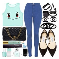 """""""Pokemon Style"""" by enola-pycroft ❤ liked on Polyvore featuring Topshop, Chanel, Kissing Elixirs, Essie, Aromachology, Nails Inc., INIKA, Jimmy Choo, Furla and Charlotte Russe"""