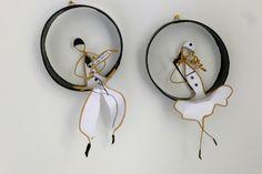 Pierrot et Colombine - figurines en ficelle de kraft armé et papiers originaux : Accessoires de maison par ficelleetpapier