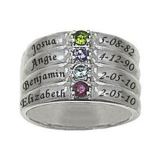 Mothers' Simulated Birthstone Stack-Look Family Ring in Sterling Silver (2-4 Names and Stones) - Zales