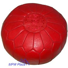 Sale-Red Moroccan Leather Pouf/Ottoman  Sold by MPWPlaza on Etsy