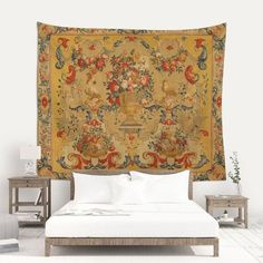 The Mill Pond Small Town Painting Woven on Decorative Wall Hanging Tapestry
