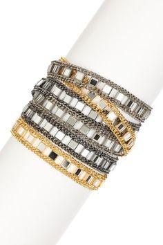 Mixed Metal Mirrored Multi-Strand Bracelet on HauteLook