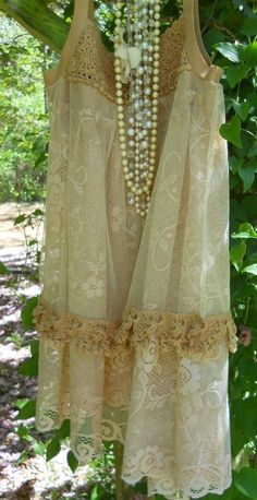 Another lace tablecloth refashioning. Upcycled lace tablecloth tea stained dress