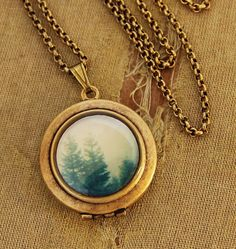 Going The Distance - Evergreen Trees Nature Landscape Photo Locket Necklace