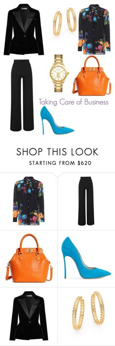 """""""Taking Care of Business"""" by kansadie ❤ liked on Polyvore featuring Gucci, Amanda Wakeley, Brooks Brothers, Casadei, Oscar de la Renta and Versace"""