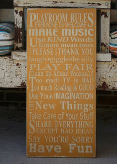 Playroom Rules Sign  Typography Word Art by barnowlprimitives, $95.00