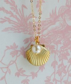 Sea Shell LOCKET Necklace Gold Shell Necklace by redtruckdesigns