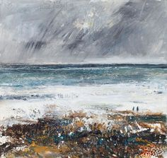 Kurt Jackson: Winter rock pooling. -  2014 - mixed media and collage on board