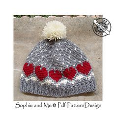 This cap is designed for the pure joy of being able to knit colored patterns with my hook!