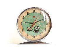 Vintage Alarm Clock Diamond Shanghai Panda Clock Vintage