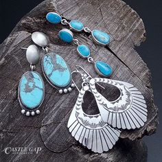 Sterling Silver, Natural Stone, and Shell Earrings