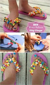 Water Balloon Flip Flops so cute 18 Adorable Diy Summer Flip Flops For Girls Just right over here, we are with the pictures of these Making Your Own Footwear - 10 DIY Shoes for Comfort and Style Cool has anyone tries this yet I did last Lear all the time Flip Flops Diy, Balloon Flip Flops, Flip Flop Craft, Flip Flop Sandals, Decorating Flip Flops, Flipflops, Diy Accessoires, Shoe Crafts, Face Masks For Kids