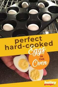 make hard cooked eggs (aka hard boiled eggs) in your oven in just a few quick steps. Healthy Diet Recipes, Healthy Snacks For Kids, Easy Snacks, Healthy Cooking, Real Food Recipes, Healthy Food, Snack Hacks, Food Hacks, Baked Hard Boiled Eggs