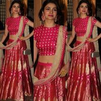 Prachi Desai in a silk lehenga by SVA Couture at the Diwali Celebrations. Indian Lehenga, Banarasi Lehenga, Anarkali, Sharara, Silk Sarees, Lehenga Designs, Indian Attire, Indian Ethnic Wear, Indian Wedding Outfits