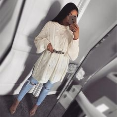 New collection Autumn 2019 Long Sweater Outfits, Long Sleeve Outfits, Winter Dress Outfits, Cute Casual Outfits, Modest Outfits, Long Sweaters, Modest Fashion, Long Sleeve Sweater, Chic Outfits