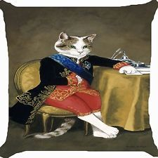 Retro vintage cat crown king prince Victorian dress Cushion Cover Throw Pillow
