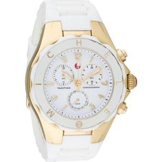 Pre-owned Michele Tahitian Jelly Bean Chronograph Watch ($195) ❤ liked on Polyvore featuring jewelry, watches, white, crown jewelry, jelly watches, preowned watches, chrono watches and michele watches