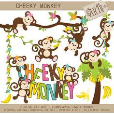 Digital Clipart  Cheeky Monkey / Girl Monkey by ClipArtCorner, $3.50