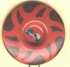 SOLD: Aluminum stencil button red with black vintage medium size