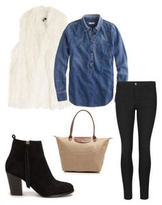 """""""Fur & Chambray"""" by thepinkcatapillar on Polyvore featuring DKNY, J.Crew, Indigo Collection, Nly Shoes and Longchamp"""
