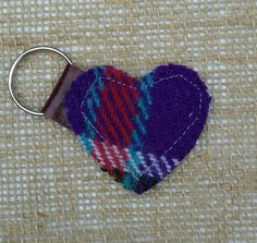 Harris Tweed heart shaped Mini key fob bag by JustSewYorkshire
