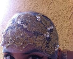 Elegant headband with gold lace Apliques sorrounded by gold chain with ...