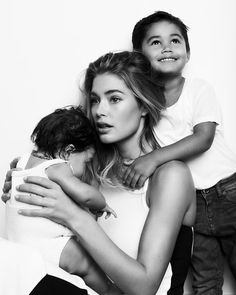 Supermodel Doutzen Kroes, husband Sunnery James and their children Phyllon Joy and Myllena Mae, for Vogue NL, March 2015.