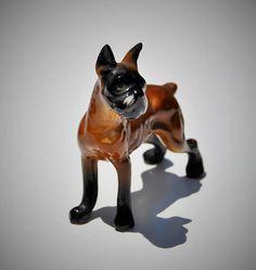 Vintage Dog Figurine Boxer Porcelain Bone China Circa 1950