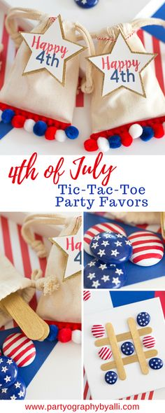 4th of July Tic-Tac-Toe Party Favors, Patriotic Take Along Tic-Tac-Toe