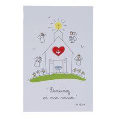 """Voici l'Image """"Maison de Dieu""""de Tante Menoue. Ce dessin représente symboliquement l'entrée du baptisé dans la maison de Dieu. Deux anges apportent chacun au nouveau baptisé le vêtement blanc, le Saint-Chrême, le troisième une lumière et le dernier joue de la trompette pour fêter l'événement. Inscription : """"Demeurez dans mon amour"""" (Jn 15, 9).  Ces images sont un cadeau de baptême apprécié."""