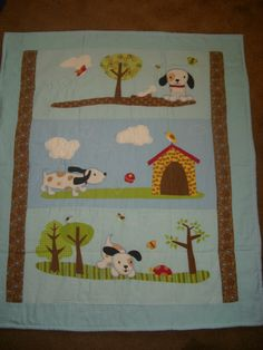 BaBY BLanKeT, AppLiqued Puppy Dogs with soft blues flannel and chenille Quilt etsy 35