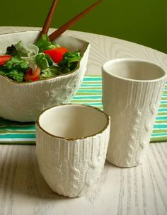 'Sweater' Ceramic mugs and salad bowl. I NEED THESE SO BADLY!!!!! :)