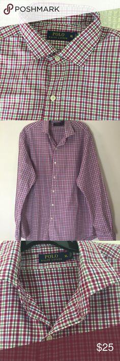 POLO RALPH LAUREN Mens long sleeve shirt Gently used  XL POLO RALPH LAUREN Mens long sleeve button down oxford shirt red and White Polo by Ralph Lauren Shirts Casual Button Down Shirts