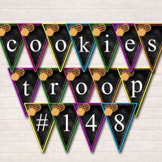 This AWESOME EDITABLE girl scout cookie banner is great to display at cookie booths and stands! Capture the eyes and attention of future cookie buyers with this great banner.  MAKE IT YOUR OWN- editable text allows you to write ANYTHING youd like (1 character per penant) can write numbers, alphabet or symbols! 6 colored penants included - mix and match for a colorful fun marketing tool!  Ideas for Banner- BUY COOKIES HERE! GIRL SCOUT COOKIES SUPPORT TROOP #333 (your troop number) $5 A BOX…