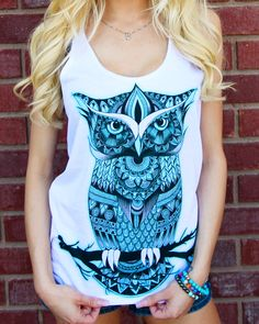 Love this Teal Owl Zentangle Tank!