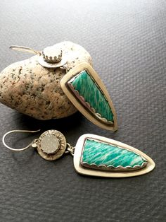 Reserved for Linda:   Amazonite and Druzy sterling dangle earrings by Julie Crawford of CrawfordCreekDesigns.Etsy.com