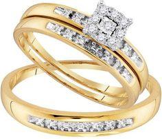 10K Yellow-gold 0.11CTW DIAMOND FASHION TRIO-SET