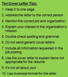 10 basic cover letter tips