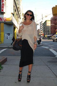 Black Skirt Woven Tan Sweater