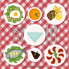 Delicious lunch Free Vector