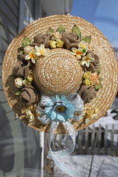 Front Door Decoration, Burlap Rose, Spring Summer Floral Pink Straw Hat, Year Round Decoration $41