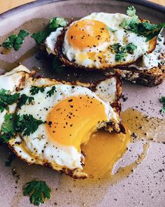 This Sesame Oil Fried Egg Toast with Cilantro recipe is featured in the Breakfast Eggs feed along with many more. Clean Eating Snacks, Healthy Snacks, Healthy Recipes, Egg Recipes, Snack Recipes, Cilantro Recipes, Breakfast Recipes, Fried Eggs Breakfast, Fried Egg On Toast